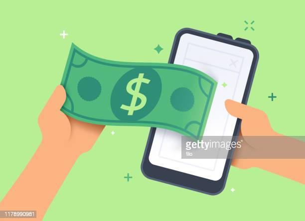 stockillustraties, clipart, cartoons en iconen met mobile cash payment banking of selling concept - bankieren