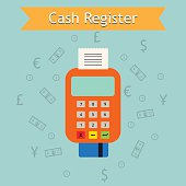 Mobile cash register machine illustration. Retail services e-commerce business