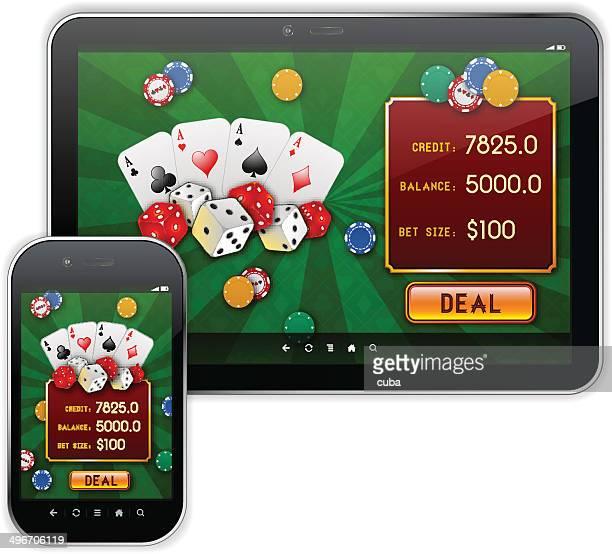 mobile casino responsive ui design - poker card game stock illustrations
