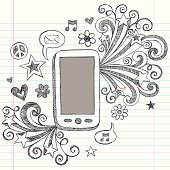 Mobile Cell Phone PDA Sketchy Doodle Vector Design