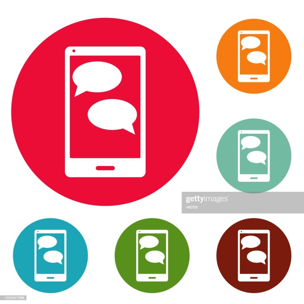 Mobile chat icons circle set vector