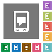 Mobile chat square flat icons