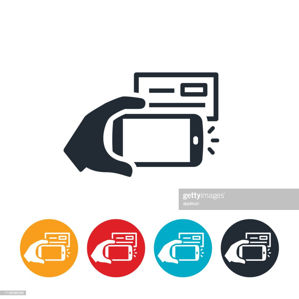 Mobile Check Deposit Icon : stock illustration