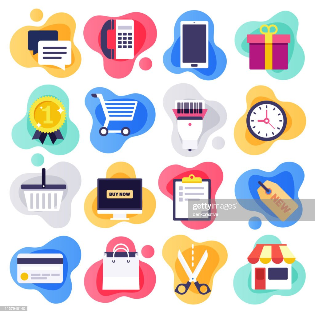 Mobile Commerce & Consumer Behaviour Flat Liquid Style Vector Icon Set : stock illustration