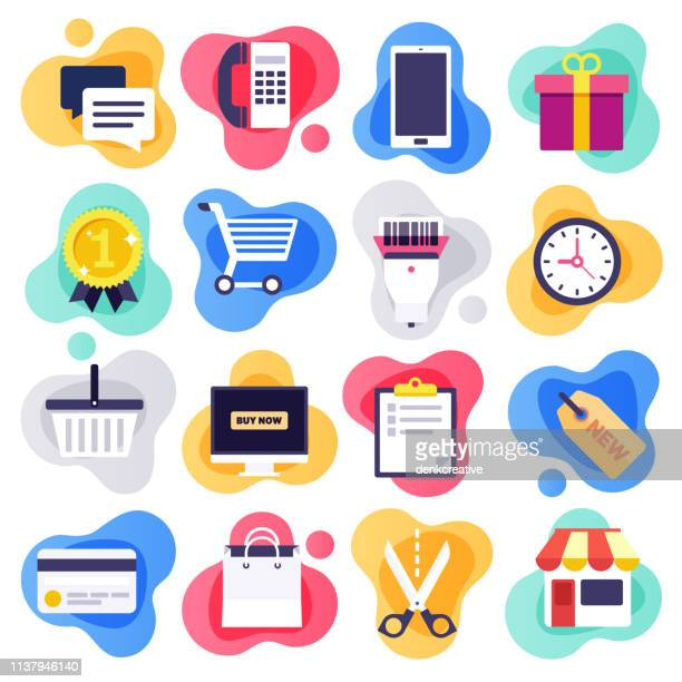 mobile commerce & consumer behaviour flat liquid style vector icon set - e commerce stock illustrations