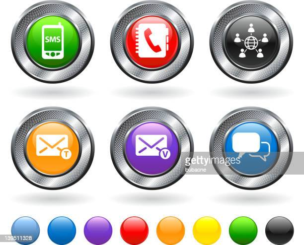 mobile communication royalty free vector icon set - answering machine stock illustrations, clip art, cartoons, & icons