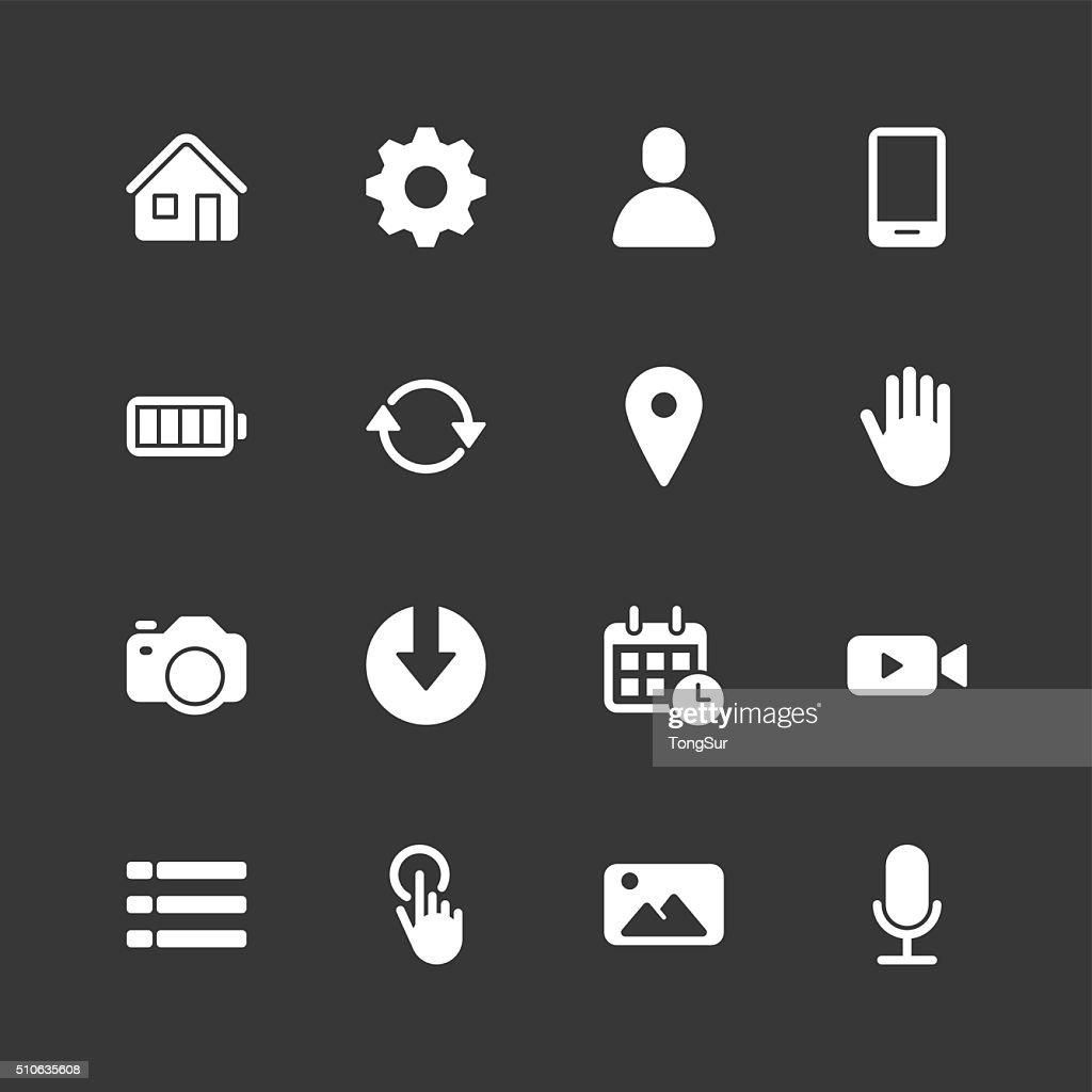 モバイルのコントロールのアイコン-通常ホワイトシリーズ : ストックイラストレーション