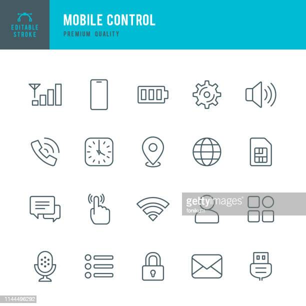 mobile control - set of thin line vector icons - lock stock illustrations