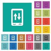 Mobile data traffic square flat multi colored icons