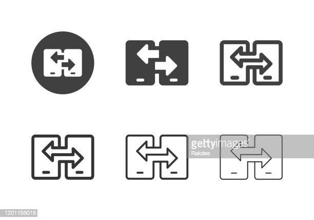 モバイルデータ転送アイコン - マルチシリーズ - イメージ転送点のイラスト素材/クリップアート素材/マンガ素材/アイコン素材