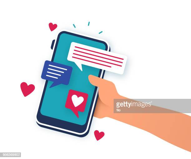illustrazioni stock, clip art, cartoni animati e icone di tendenza di mobile dating phone app - social network