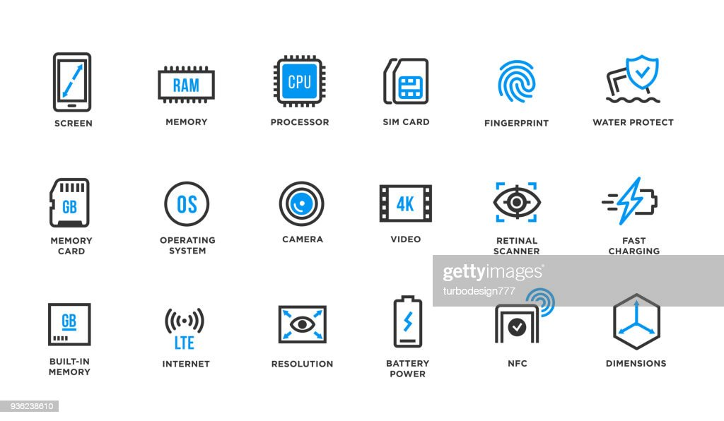Mobile Device Components Vector Icon Set