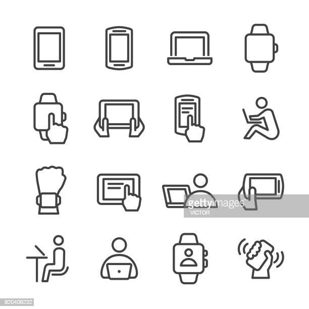 mobile device icons - line series - interactivity stock illustrations, clip art, cartoons, & icons