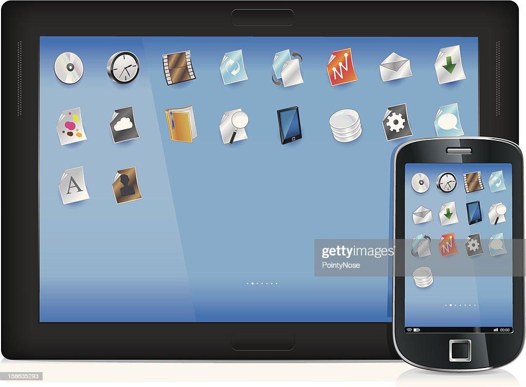 Dispositivo móvel embalagem : Arte vetorial