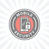 Mobile device security icon with padlock and smartphone symbol badge.