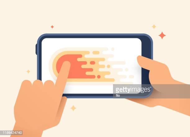 ilustraciones, imágenes clip art, dibujos animados e iconos de stock de dispositivo móvil deslizando el gesto izquierdo - agarrar