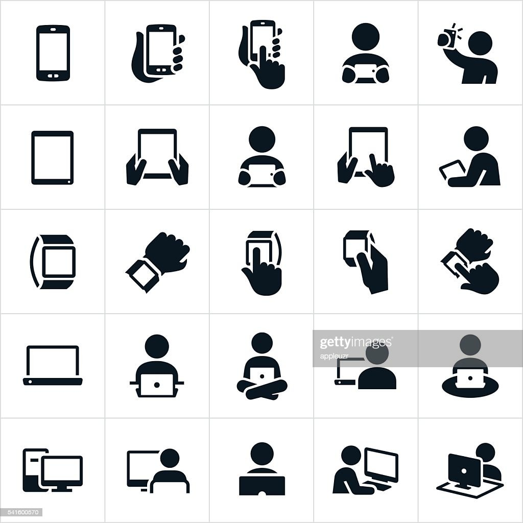 Mobile Devices and Computers Icons : stock illustration
