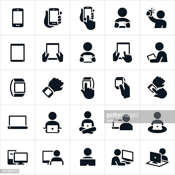 mobile devices and computers icons - holding stock illustrations, clip art, cartoons, & icons