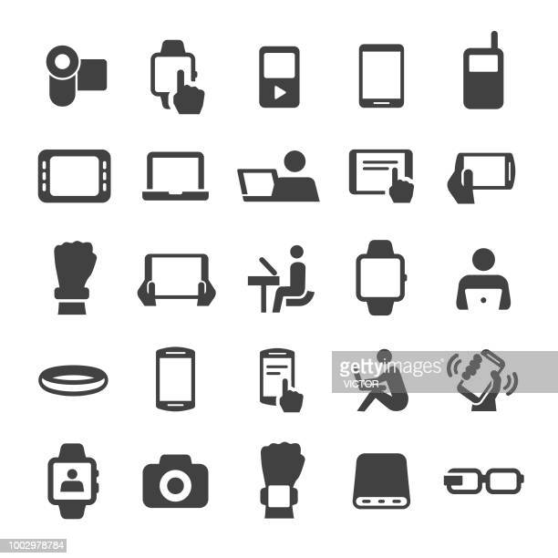 mobile devices icons set - smart series - holding stock illustrations, clip art, cartoons, & icons