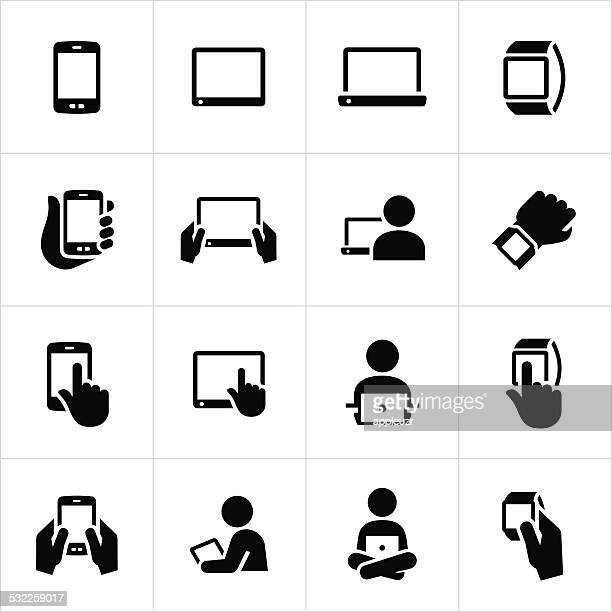 mobile devices icons - holding stock illustrations, clip art, cartoons, & icons