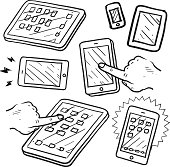 Mobile devices, tablets and smartphones vector sketch