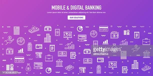 mobile & digital banking outline style web banner design - financial technology stock illustrations