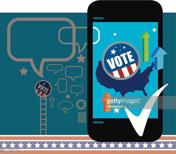 mobile election results - political rally stock illustrations, clip art, cartoons, & icons
