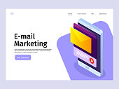 Mobile email notification concept. Email marketing. Landing page template. Vector 3d isometric illustration.