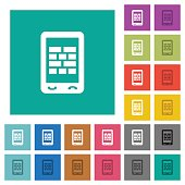Mobile firewall square flat multi colored icons