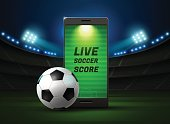 mobile football live with scoreboard and spotlight