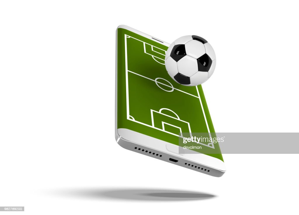 Mobile football soccer. Mobile sport play match. Online soccer game with live mobile app. Football field on the smartphone screen and ball. Online ticket sales concept