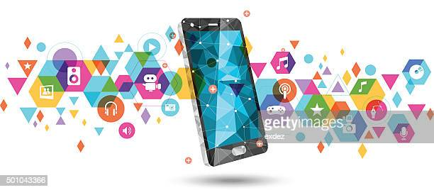 mobile for multimedia - arts culture and entertainment stock illustrations
