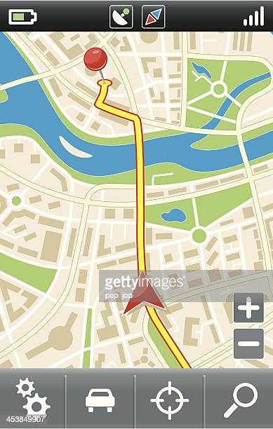 ilustrações, clipart, desenhos animados e ícones de navegador gps móvel interface - mapa de rua