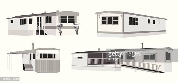 Mobile Homes Vector Silhouette