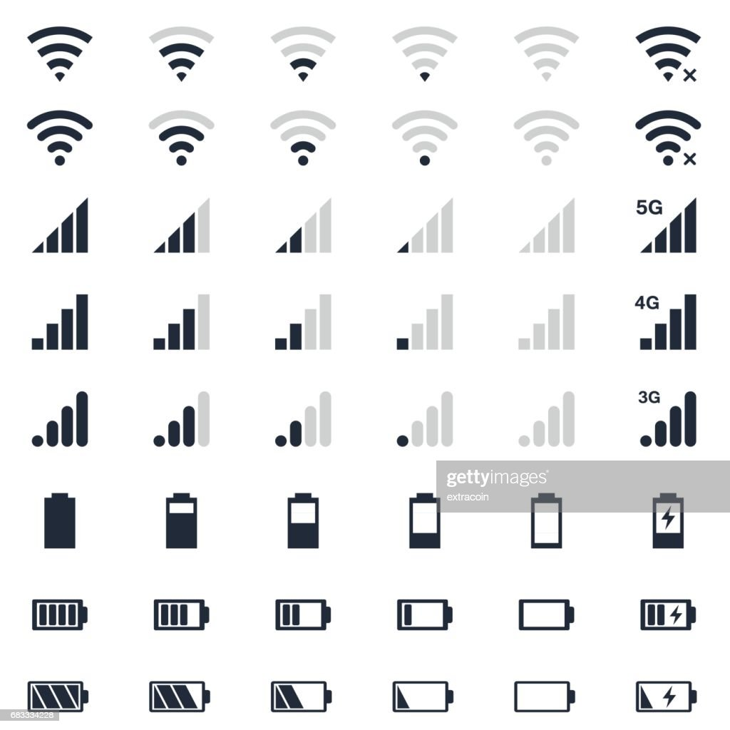mobile interace icons, battery charge, wi-fi signal, mobile signal level icons set
