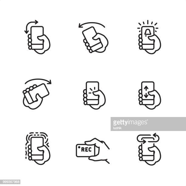 mobile interaction - pixel perfect outline icons - turning stock illustrations