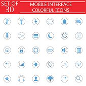 Mobile interface colorful icon set