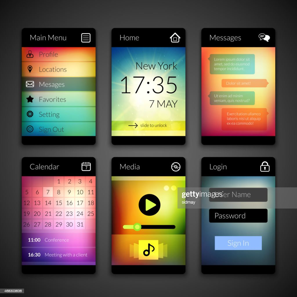 Mobile interface designs on colorful wallpapers