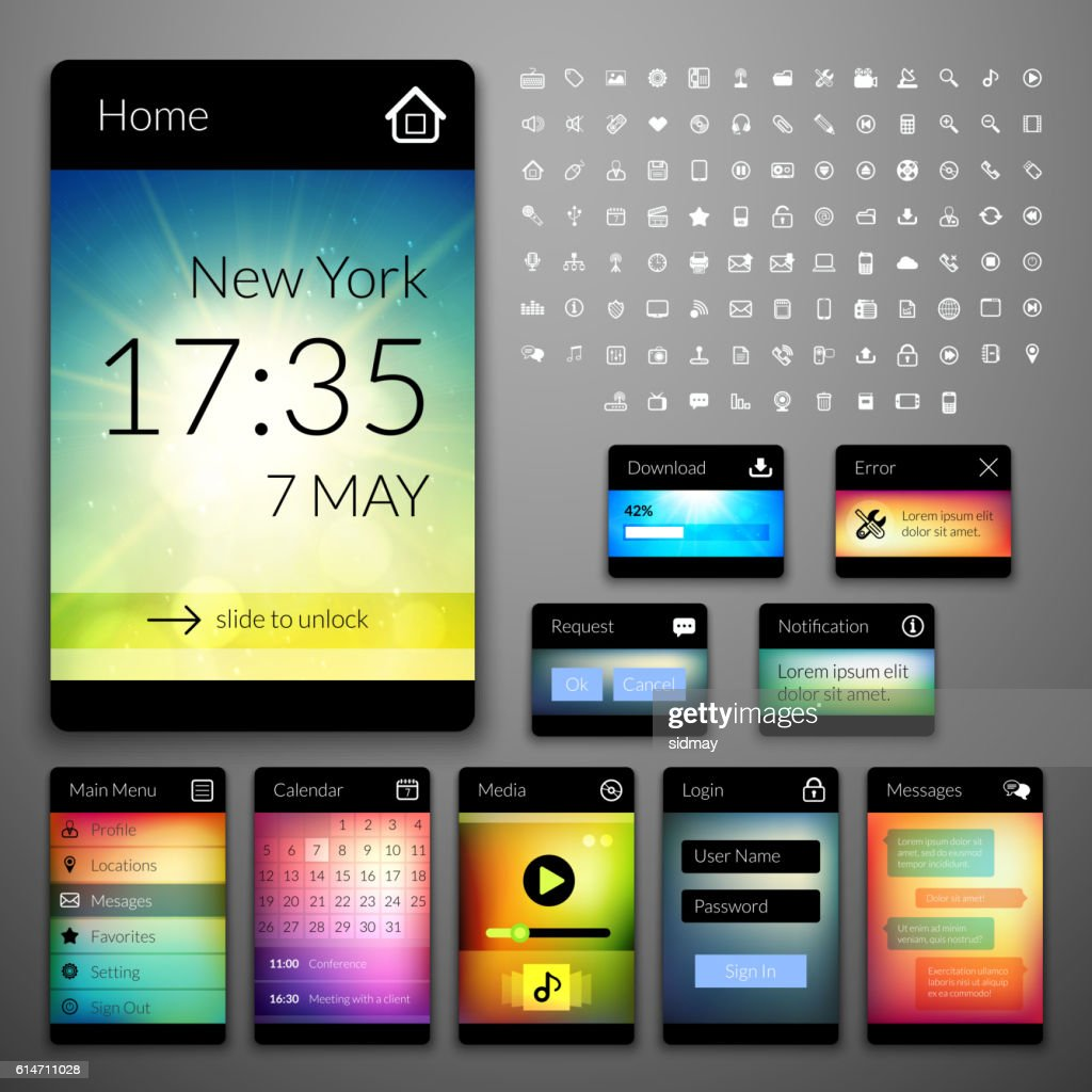 Mobile interface elements with colorful wallpaper and icons set
