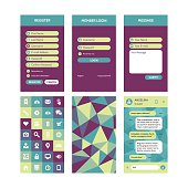 Mobile interface vector template in flat style