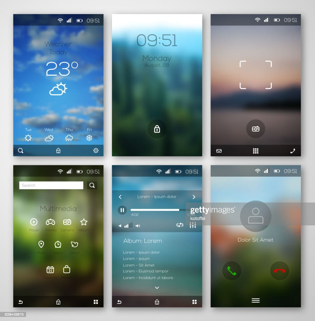 Mobile interface wallpaper design and icons.