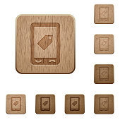 Mobile label wooden buttons