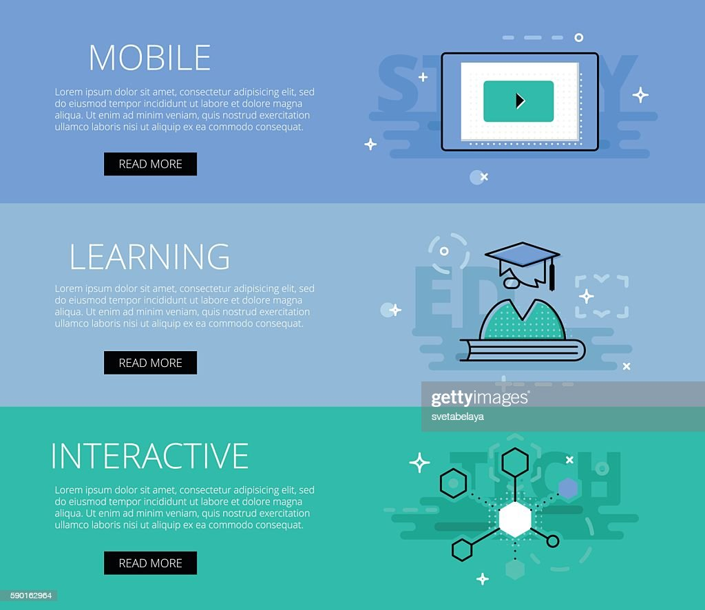 Mobile Learning Interactive Vector Banners Template Set High Res Vector Graphic Getty Images