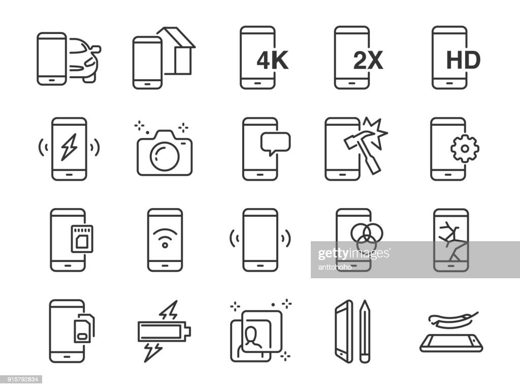 Mobile line icon set. Included the icons as smartphone, memory, battery, filter, screen, power, charger and more.