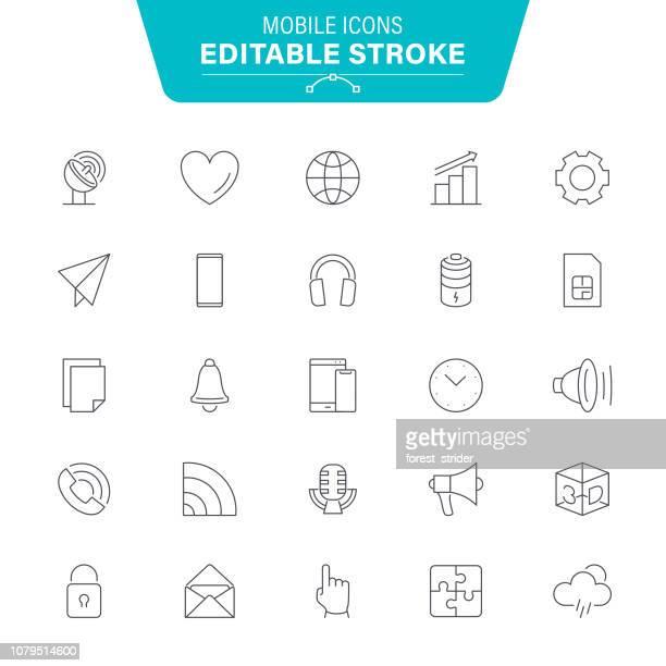 ilustraciones, imágenes clip art, dibujos animados e iconos de stock de iconos de línea móvil - sistema operativo