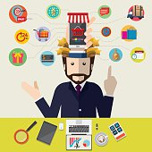 Mobile marketing concept idea with flat icons. Vector illustration.