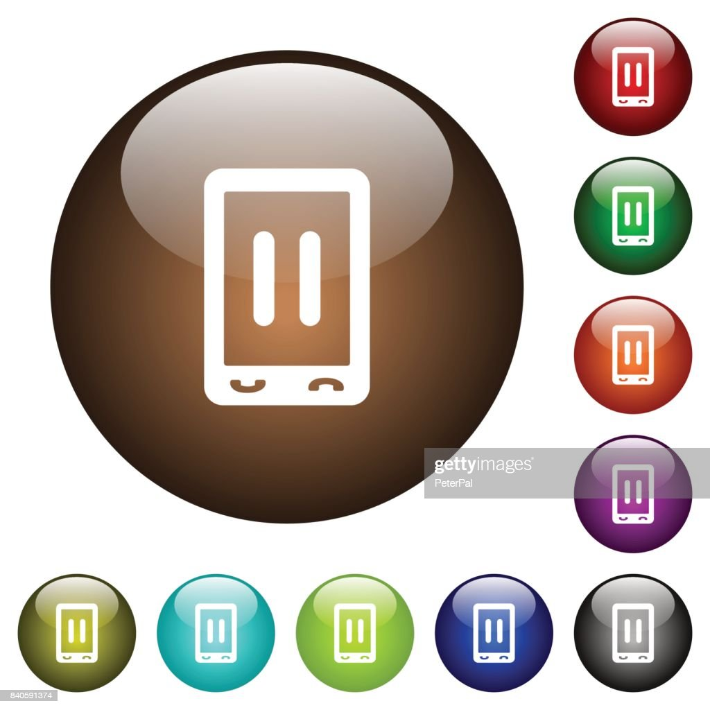 Mobile media pause color glass buttons