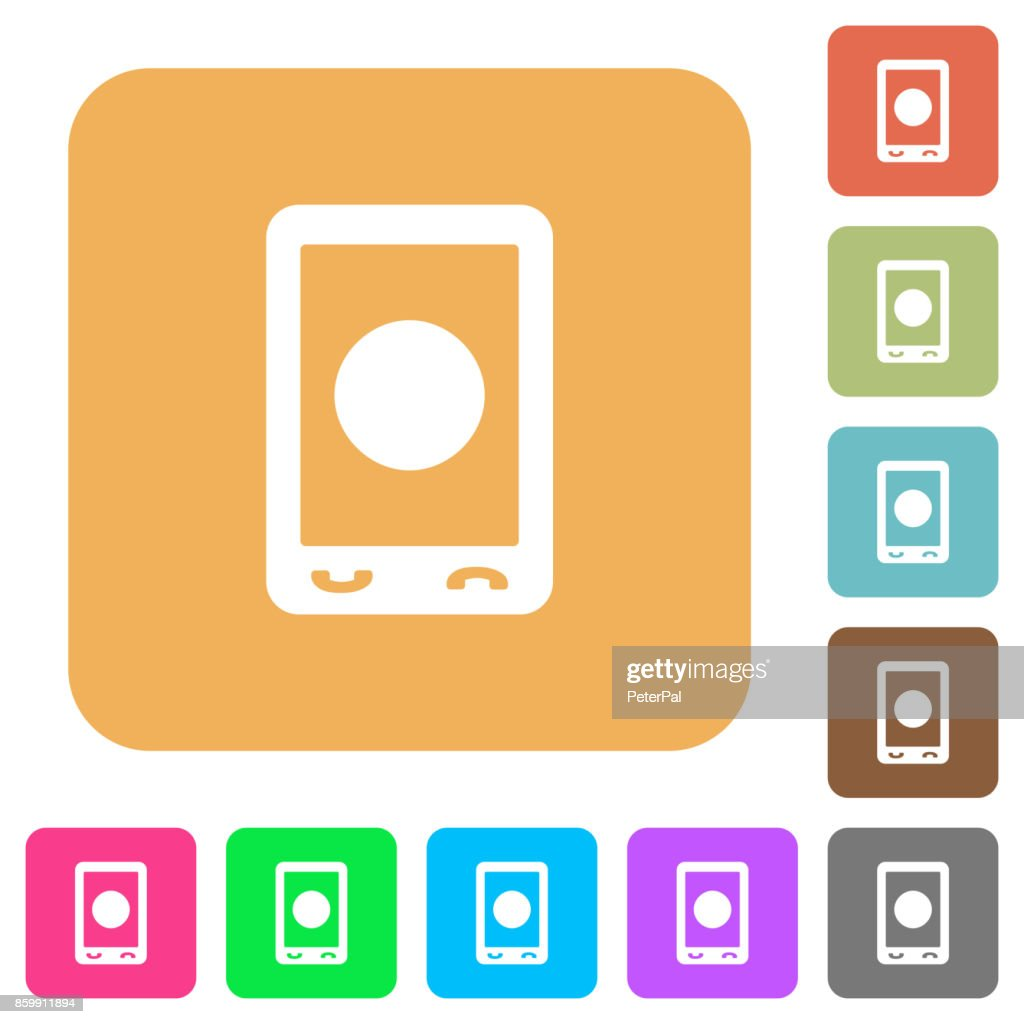 Mobile media record rounded square flat icons