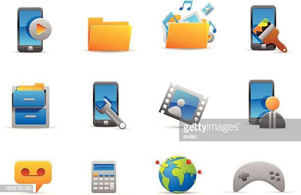 mobile menu icons - video editing stock illustrations, clip art, cartoons, & icons