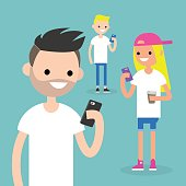 Mobile messenger concept. Social media. A group of young people with smartphones / flat editable vector illustration, clip art